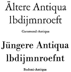 Vergleich ältere und jüngere Antiqua aus Jan Tschichold Erfreuliche »Drucksachen durch gute Typographie«
